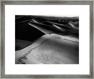 One Set Of Footprints Framed Print by Simon Chenglu