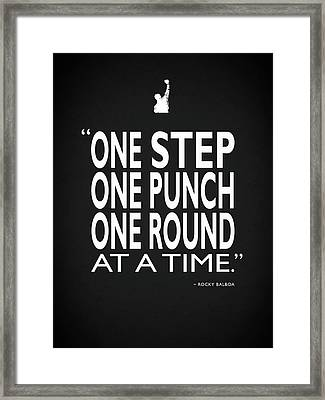 One Step One Punch One Round Framed Print by Mark Rogan