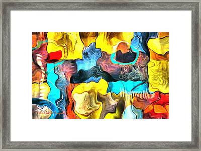 One Up Abstract Panel Framed Print by Barbara Snyder