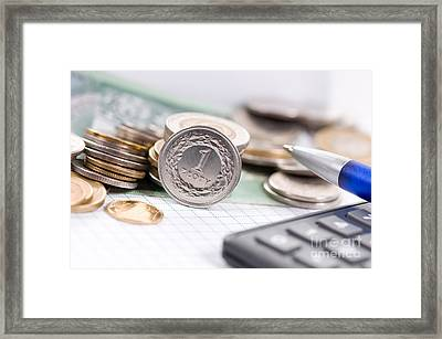 One Value Polish Zloty Coin Front View  Framed Print by Arletta Cwalina