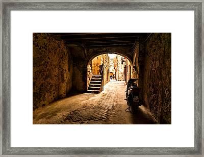 One Very Italian Courtyard Framed Print by Georgia Mizuleva