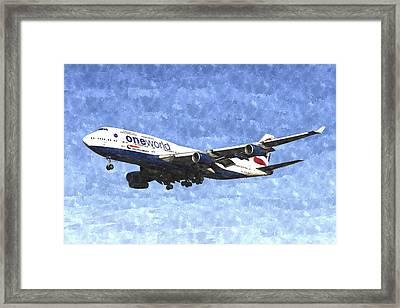 One World Boeing 747 Art Image Framed Print by David Pyatt