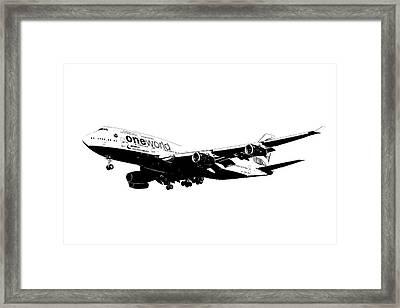 One World Boeing 747 Sketch Framed Print by David Pyatt