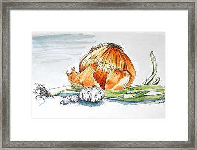 Onions And Garlic Framed Print by D K Betts