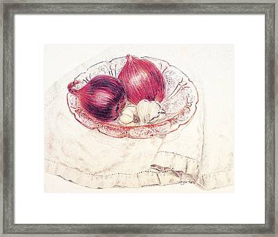 Onions Garlic And Cherry Blossoms Framed Print by Timothy Theis