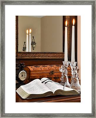 Open Bible With Candles - 1 Framed Print by James Fowler