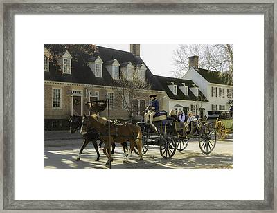 Open Carriage Ride In Colonial Williamsburg Virginia Framed Print by Teresa Mucha
