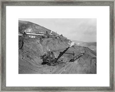 Open Pit United Verde Mine On Mountain Framed Print by Everett