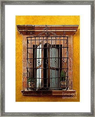 Open Window In Ochre Framed Print by Mexicolors Art Photography