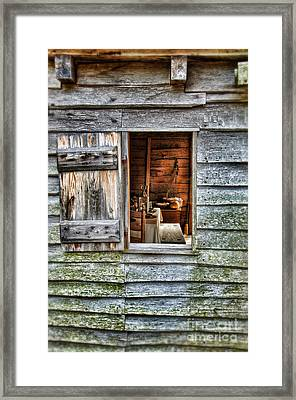 Open Window In Pioneer Home Framed Print by Jill Battaglia