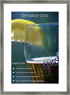 Optimist Quiz Framed Print by Lisa Knechtel