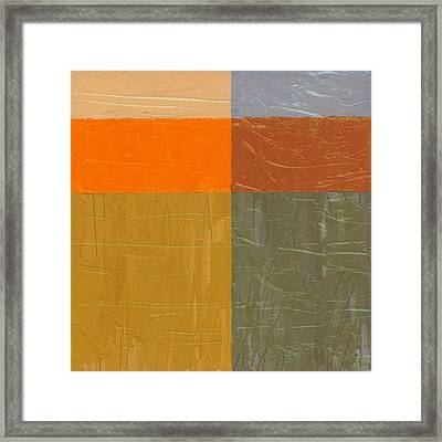Orange And Grey Framed Print by Michelle Calkins