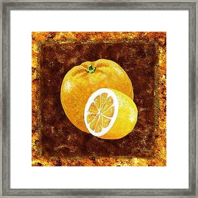 Orange And Lemon By Irina Sztukowski Framed Print by Irina Sztukowski
