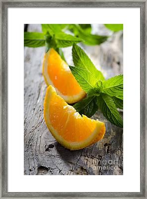 Orange And Mint Framed Print by Jelena Jovanovic