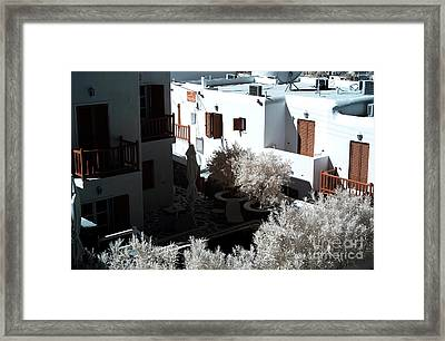 Orange Balcony In Mykonos Infrared Framed Print by John Rizzuto