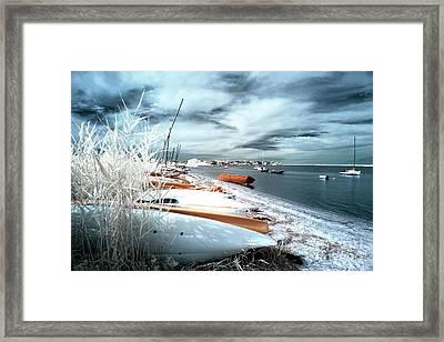 Orange Boat At Lbi Framed Print by John Rizzuto