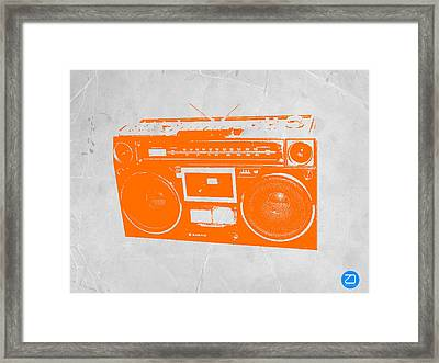 Orange Boombox Framed Print by Naxart Studio
