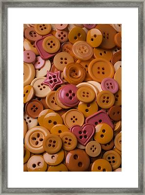 Orange Buttons Framed Print by Garry Gay