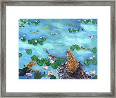 Orange Cat At Koi Pond Framed Print by Laura Iverson