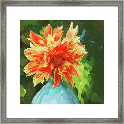 Orange Dahlia - Square Framed Print by Jai Johnson