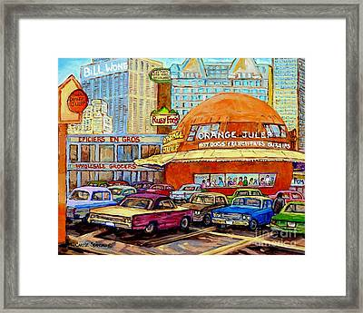 Orange Julep Painting Decarie Blvd Skyline Ruby Foo's Bill Wong's Montreal Memories 60's Cars  Framed Print by Carole Spandau