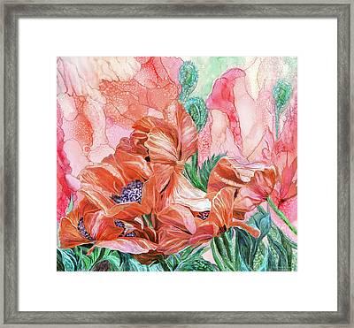 Orange Poppies Of Summer Framed Print by Carol Cavalaris