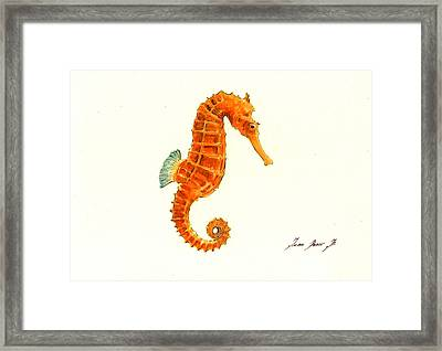 Orange Seahorse Framed Print by Juan Bosco
