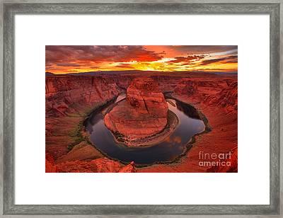 Orange Skies Over Horseshoe Framed Print by Adam Jewell