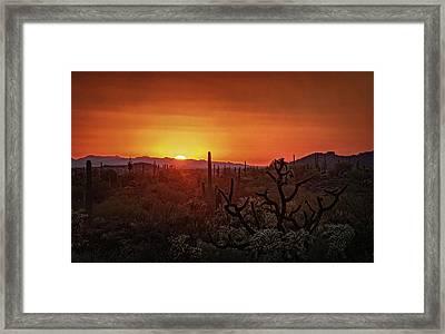 Orange Sonoran Skies  Framed Print by Saija Lehtonen