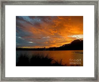 Orange Sunset Glow Framed Print by Kaye Menner