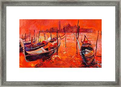 Orange Sunset Over Venice By Ivailo Nikolov Framed Print by Boyan Dimitrov