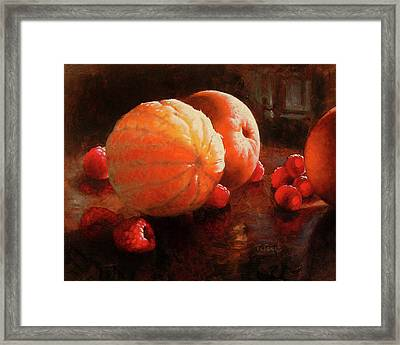 Oranges And Raspberries Framed Print by Timothy Jones