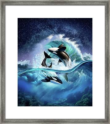 Orca Wave Framed Print by Jerry LoFaro