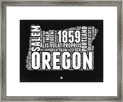 Oregon Black And White Map Framed Print by Naxart Studio