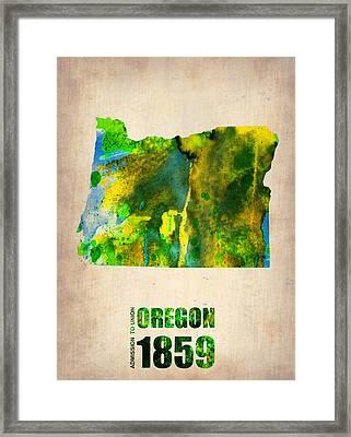 Oregon Watercolor Map Framed Print by Naxart Studio