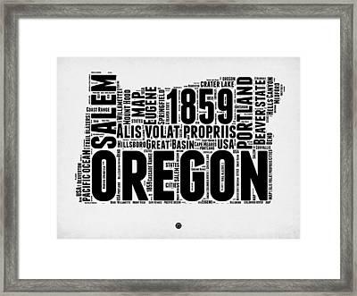Oregon Word Cloud 1 Framed Print by Naxart Studio