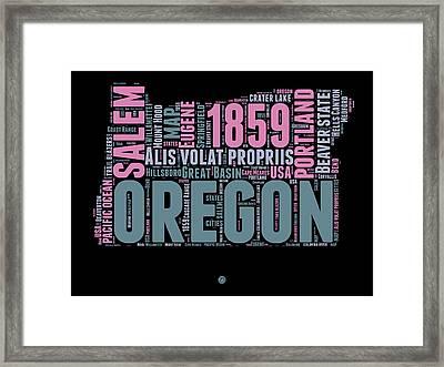 Oregon Word Cloud 2 Framed Print by Naxart Studio