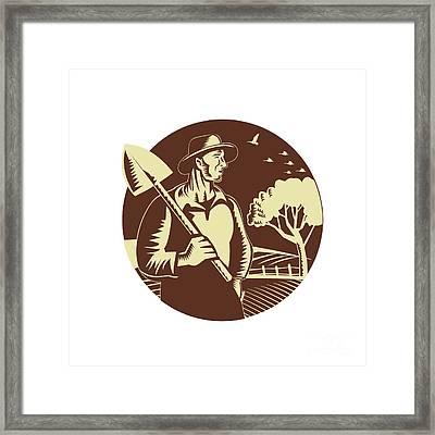 Organic Farmer Holding Shovel Farm Circle Woodcut Framed Print by Aloysius Patrimonio
