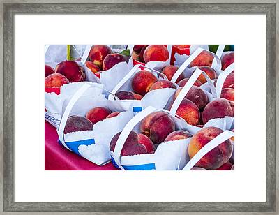 Organic Peaches At The Market Framed Print by Teri Virbickis