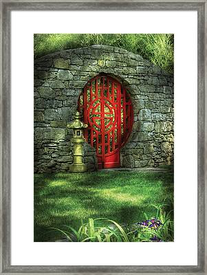 Orient - Door - The Moon Gate Framed Print by Mike Savad