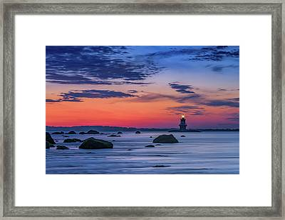 Orient Point Lighthouse At Dawn Framed Print by Rick Berk