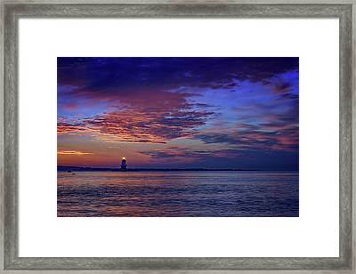 Orient Point Lighthouse At Sunrise Framed Print by Rick Berk