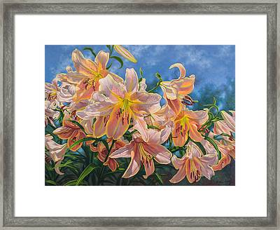 Oriental Lilies 2 Red Hot Framed Print by Fiona Craig