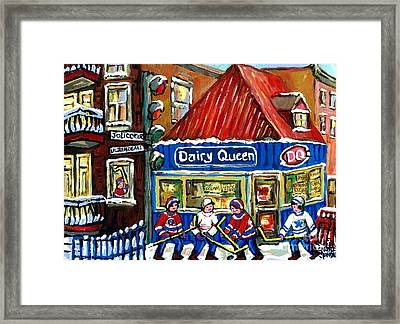 Original Canadian Hockey Art Paintings For Sale Snowfall At Dairy Queen Ville Emard Montreal Winter  Framed Print by Carole Spandau