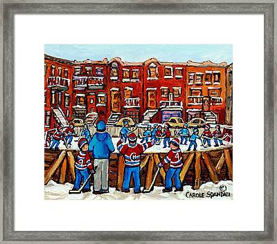 Original Hockey Art Paintings For Sale The Neighborhood Hockey Rink Canadian Winter Scenes Framed Print by Carole Spandau
