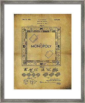 Original Monopoly Board Game Patent Framed Print by Dan Sproul