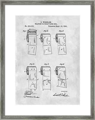 Original Toilet Paper Roll Patent Drawing Framed Print by Dan Sproul