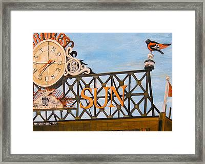 Orioles Scoreboard At Sunset Framed Print by John Schuller