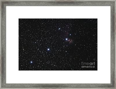 Orions Belt, Horsehead Nebula And Flame Framed Print by Luis Argerich