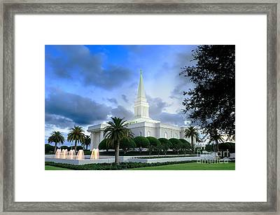 Orlando Lds Temple Framed Print by Laurent Lucuix